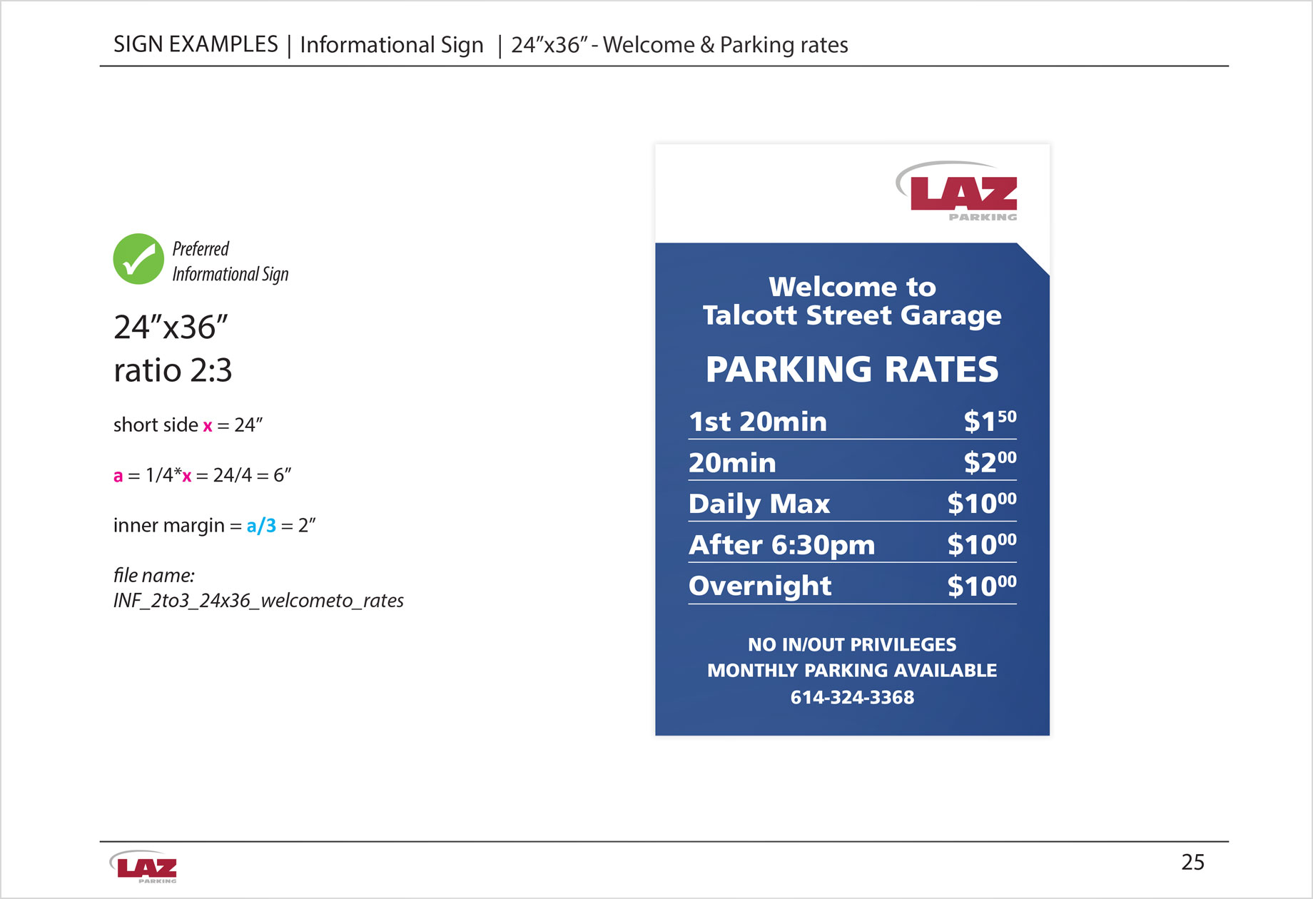LAZ parking rates